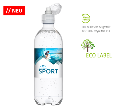 ECO 500ml Wasser in der re-PET-Flasche Medium